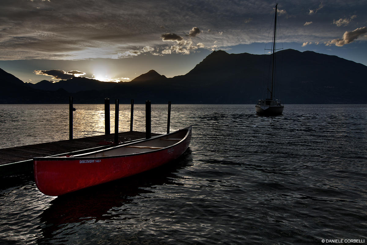 Red canoe at sunset